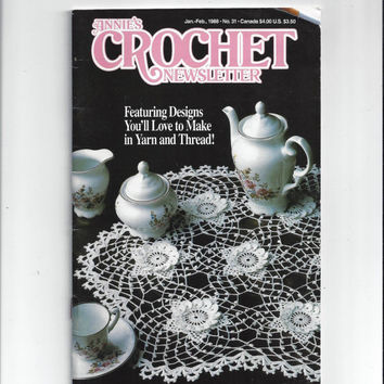 1988 Annie's Crochet Newsletter Book, Irish Lace, Pillows, Blankets, Place Mats, Scarf, Mittens, Sweaters, Animals, Vintage Crochet Book