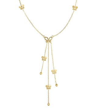14K Yellow Gold Shiny+Diamond Cut Cable Chain  Lariat Type Necklace with Butterfly Elements+Lobs ter Clasp