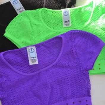 Rhinestone Fishnet Crop Top