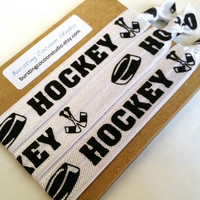 Hockey hair ties, set of 3 sticks and puck hair ties, print FOE, foldover elastic, stocking stuffer ponytail holders, sports, girls gift