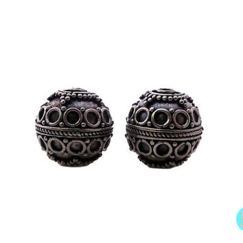 Two 12mm 925 Sterling Silver Bali Granulation Beads, 5.79 grams, Two Sterling Silver Wire Work Granulation Beads handmade in Bali