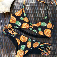 Pineapple Pattern Summer Fashion Style Lovely Women Bikini/Swimsuits/Swimwear/Beachwear = 4697442564