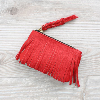 Jennifer Haley Fringe Coin Purse Red