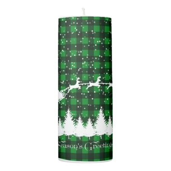 Santa's Christmas Sleigh Green Pillar Candle