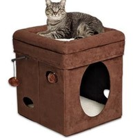 Feline Nuvo Curious Curious Cat Cube - Brown Suede