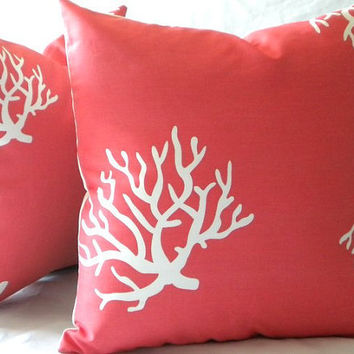 Coral and white indoor outdoor beach pillow cover - 18 x 18