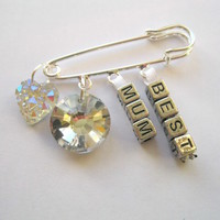 Personalised Best Mum Brooch Bag Clip Silver Pin Sparkly Charms mothers day gift
