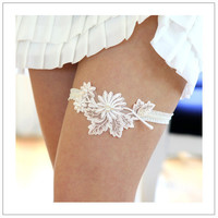 LACE BOUQUET ivory floral lace applique with pearls by woomi