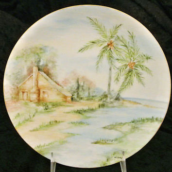Antique Plate Hand Painted Porcelain Austria Austrian Tropical Paradise Caribbean Hawaii Island Palm Trees Ocean Scene Scenic Getaway Summer