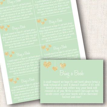 Bring a book cards baby shower mint and gold hearts baby shower invites gender neutral baby shower bring a book cards  instant download diy
