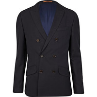 River Island MensNavy Life Of Tailor double breasted jacket
