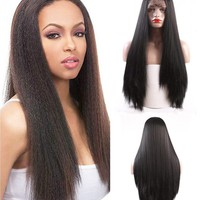 Friya Glueless Long Straight Swiss Natural Black Synthetic Lace Front Wig Heat Resistant Natural Hairline Hair Wigs For Women 22""