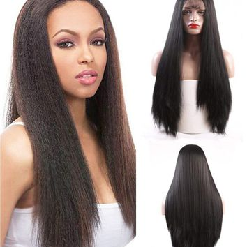 """Friya Glueless Long Straight Swiss Natural Black Synthetic Lace Front Wig Heat Resistant Natural Hairline Hair Wigs For Women 22"""""""