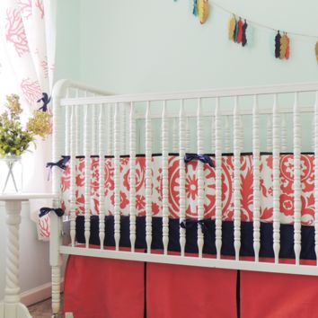 Dandelions Baby Bedding | Coral, Navy Crib Bedding Set
