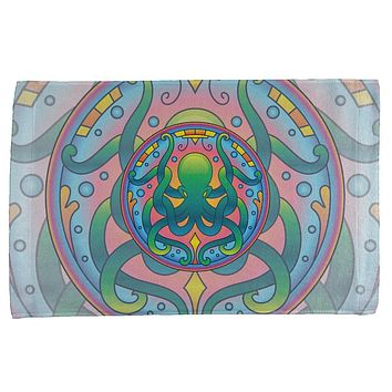 Mandala Trippy Stained Glass Octopus All Over Hand Towel