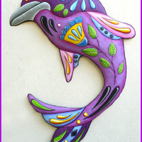 Dolphin Painted Metal Wall Hanging - Garden Metal Art - Pool Side Decor - 32""