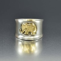 Silver 18K Gold Elephant Good Luck Band Ring