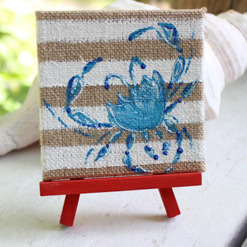 Crab Mini Painting , Nautical Art , Coastal Home Decor , Red White and Blue Home Decor