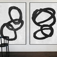 Huge large wall art Abstract painting on canvas 2 pieces black and white wall art original acrylic painting, art for large wall home decor