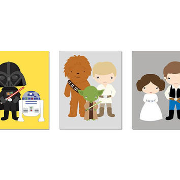 Star Wars Nursery Wall Decor, CUSTOM COLORS Prints, Starwars Gifts, Star Wars Baby Boy Nursery Decor, Star Wars gift ideas, Set of 3