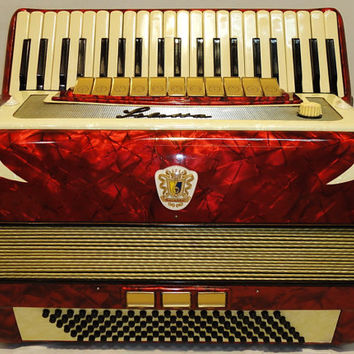 Very Beautiful, Rare German Piano ACCORDION SILETTA 120 bass. Excellent, Perfect sound.
