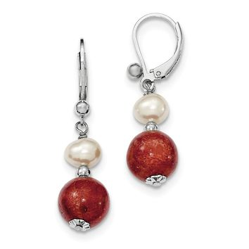 Sterling Silver Freshwater Cultured Pearl & Red Coral Earrings
