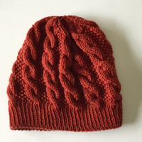 Hand knit cable beanie, wool cabled beanie, hand knit cable hat.