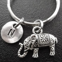 Sale...Sacred Elephant keychain, bag charm, purse charm, monogram personalized item No.645