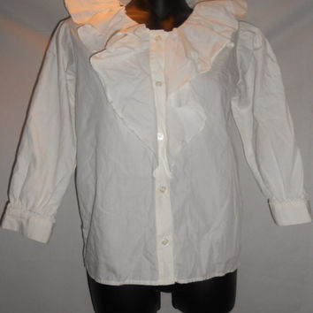 Vintage 80s Badge Brand White Small Button Up Frilly Collar Blouse Shirt Button Front