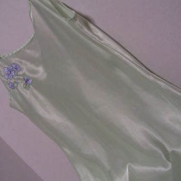 Satin Chemise Nightgown Mint Green Chiffon Embroidery and Accent Pearls Honeymoon Bridal