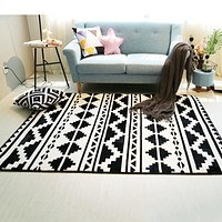 Fashion Black/White Geometric Ethnic Area Rug