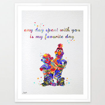 Bert and Ernie Quote Watercolor illustration Art Print,Nursery/Kids wall Art decor,Wall Hanging,Wedding,Birthday Gift, #107