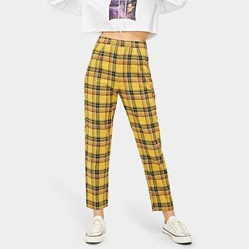 Yellow Plaid High Waisted Trousers