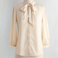 Pinup Mid-length Long Sleeve Button Down Vanilla Milk Top