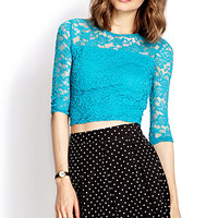 FOREVER 21 Sweet Lace Crop Top