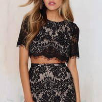 The Jetset Diaries Lace of Base Crop Top