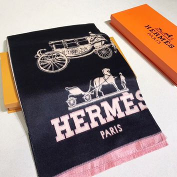 HERMES Woman Fashion Accessories Sunscreen Cape Scarf Scarves-Black