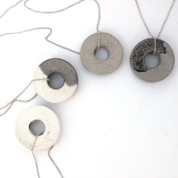 Gray circle necklace, Concrete Silver necklace, with a handmade gray circle shape concrete pendant, hangs on 925 sterling silver necklace.
