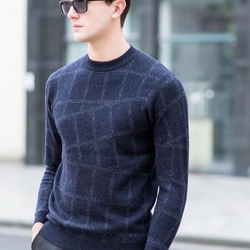Men's Merino Wool Sweater Plaid Pattern Casual Wool Pullover Male Knitted Patchwork Leisure Winter Pullover