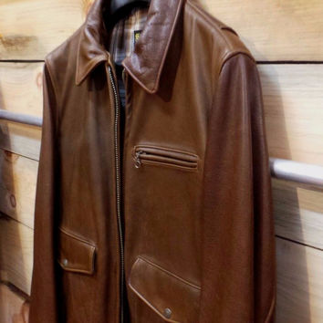 Schott Nyc Waxy soft Leather Delivery Jacket (Brown) 563  NWT Brown  XL