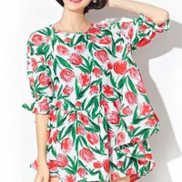 Green Floral Print Pleated Half Sleeve Dress