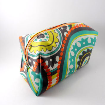 Orange and Mint Bohemian Metal Zipper Lined Makeup Bag, Gadget Case Pencil Case, Zippered, Cosmetics, For Her Under 20