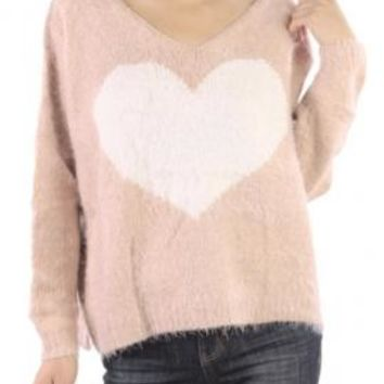 Lovey Dovey Fluffy Heart Print Sweater in Pastel Pink | Sincerely Sweet Boutique