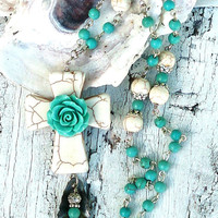 Turquoise Cross Necklace Gemstone Necklace ROSE FLOWER NECKLACE Religious Jewelry CrOsS Assemblage NeCkLaCe