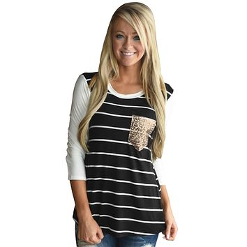 Chicloth Black White Stripe Sequin Pocket Top