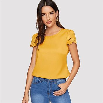 Sheinside Ginger Blouse Keyhole Back Scallop 2019 womens