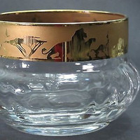 Disney Lion king etched glass finger bowls Lenox crystal gold Limited edition