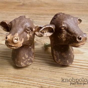 SET OF 2  -Brown Distressed Cow Knobs - Dairy Cow Bust Drawer Pull - Farm Animal Nursery Decor - Country Decorative Knob - Cabinet Decor