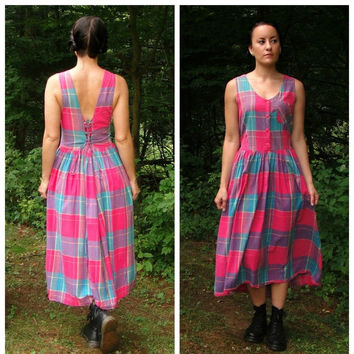 20% OFF SALE 90's Plaid Corset Back Midi Sundress. Blue Purple Pink. 1990's. Low Back. Free People Style. Boho. Large L