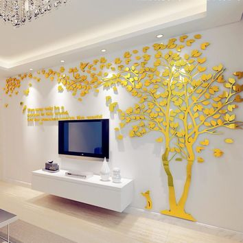 1Pcs Creative Texture 3D Acrylic Tree TV setting Wall Decal Living Room Trees For Walls Stickers Warmth Homedecor Wall Decal
